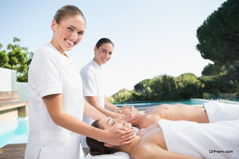 Wellness travelers relaxing at detox spa